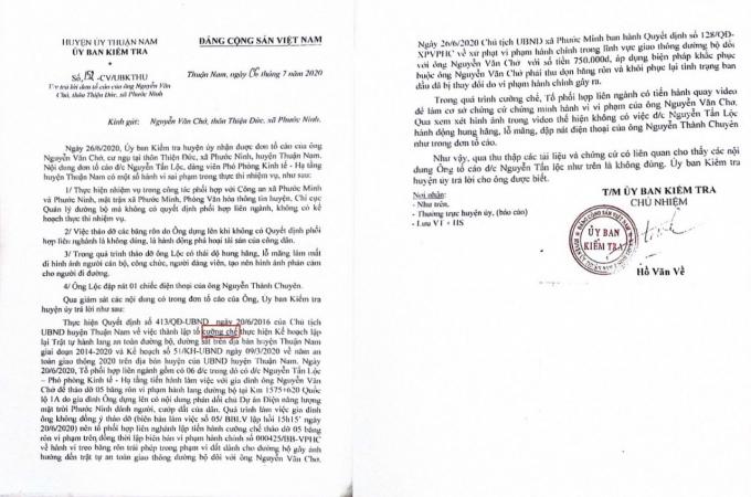 Văn bản của Ủy ban Kiểm tra trả lời ông Chở về những tố cáo.