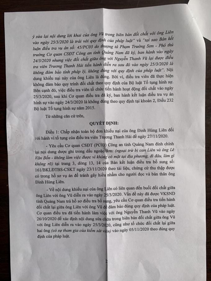Quyết định giải quyết khiếu nại của Cơ quan Cảnh sát điều tra, Công an tỉnh Quảng Nam khẳng định khiếu nại của ông Liên là đúng.