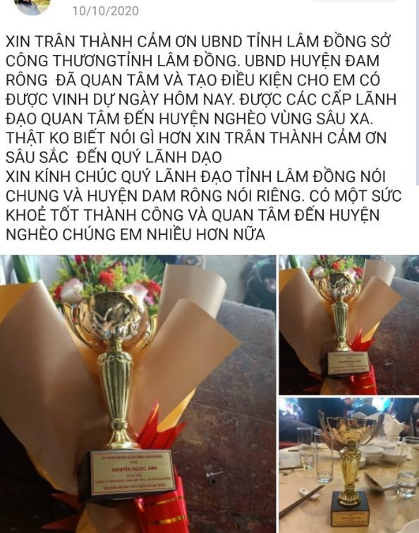 Thông tin ông Nguyễn Ngọc Ánh, Giám đốc Công ty TNHH Ngọc Ánh Hiệp Phát được tặng cúp doanh nhân tiêu biểu gây xôn xao dư luận tại huyện Đam Rông. (Ảnh bạn đọc cung cấp).