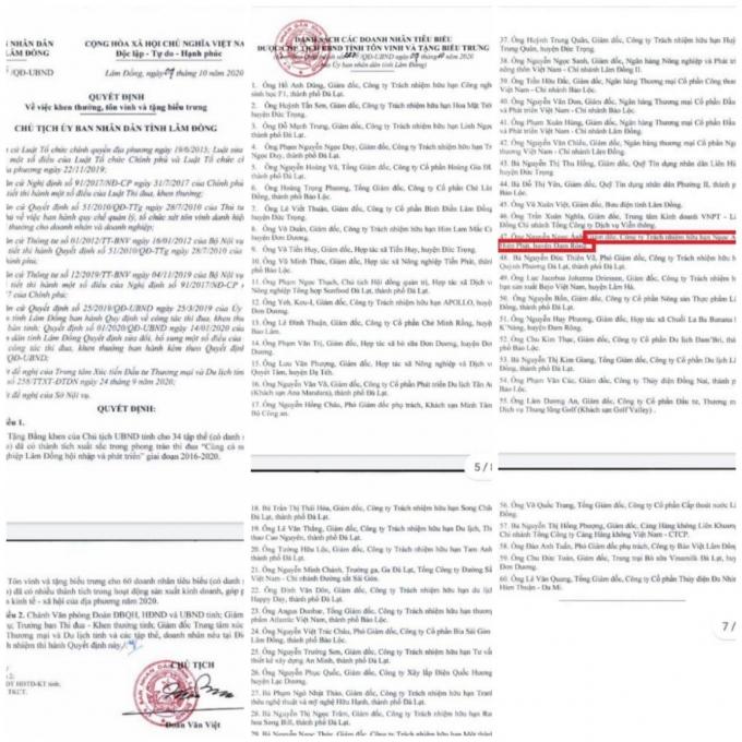 Quyết định của Chủ tịch UBND tỉnh Lâm Đồng tôn vinh 34 tập thể và 60 doanh nhân tiêu biểu có tên ông Nguyễn Ngọc Ánh, Giám đốc Công ty TNHH Ngọc Ánh Hiệp Phát (được bôi đỏ).