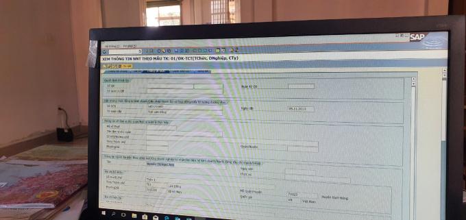 Công ty TNHH Ngọc Ánh Hiệp Phát được đăng ký tên doanh nghiệp tại Sở KH&ĐT tỉnh Lâm Đồng, người đại diện theo pháp luật là bà Nguyễn Thị Ngọc Ánh trong trạng thái không hoạt động tại địa chỉ đăng ký. (Ảnh chụp từ máy tính ở Chi cục thuế huyện Đam Rông).