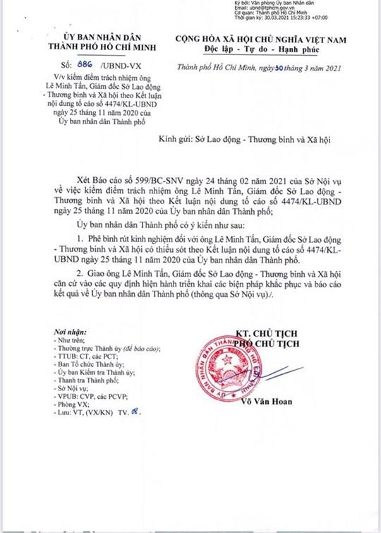 Văn bản phê bình, kiểm điểm trách nhiệm ông Lê Minh Tấn, Giám đốc Sở LĐTB&XH TP.HCM theo Kết luận nội dung tố cáo số 4474/KL-UBND ngày 25/11/2020 của UBND Thành phố.