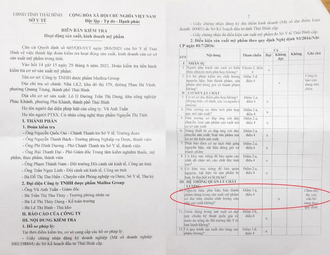 Biên bản kiểm tra hoạt động sản xuất mỹ phẩm đối với Công ty Mailisa