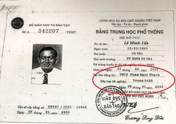 Bằng tốt nghiệp bổ túc cấp 3 của ông Tấn được cấp năm 2003.