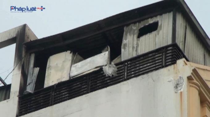 Khu vực bị cháy của khách sạn.