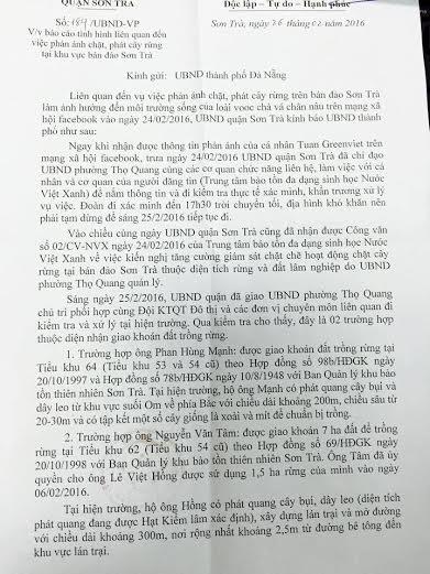 Báo cáo của UBND quận Sơn Trà gửi UBND TP Đà Nẵng.