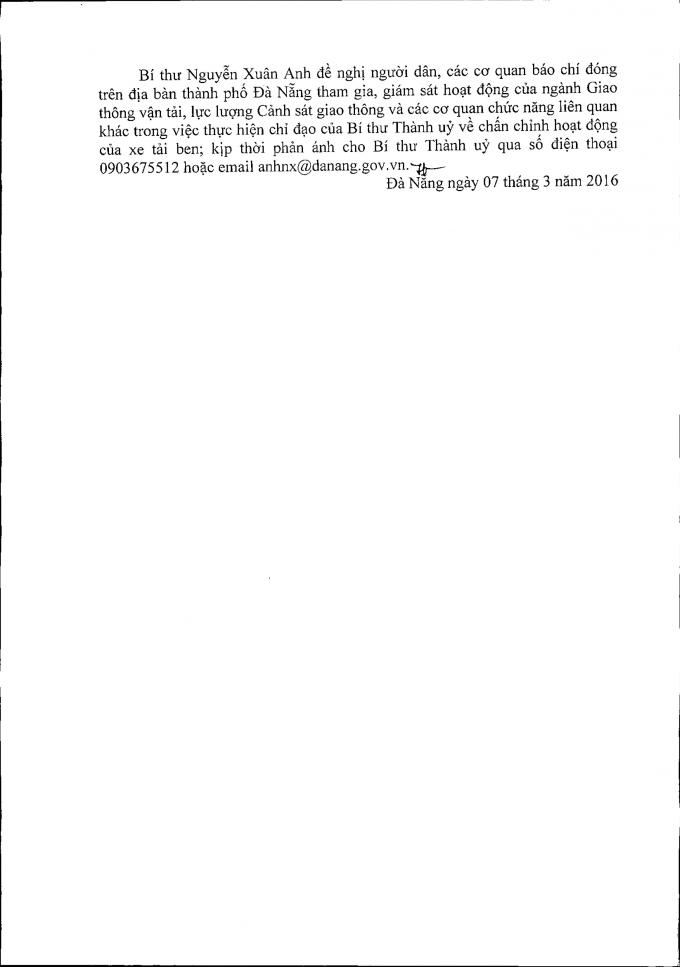 Thông cáo báo chí của Bí thư Nguyễn Xuân Anh chấn chỉnh xe ben trên địa bàn