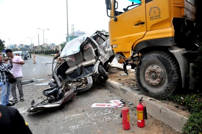 Một vụ tai nạn giao thông trên QL14B có liên quan đến xe ben