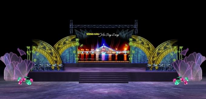 Phối cảnh sân khấu trong chương trình: Sông Hàn - Hội Trùng dương.
