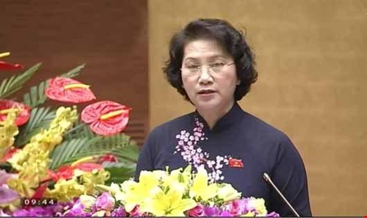 Chủ tịch QH Nguyễn Thị Kim Ngân phát biểu trong phiên bế mạc.