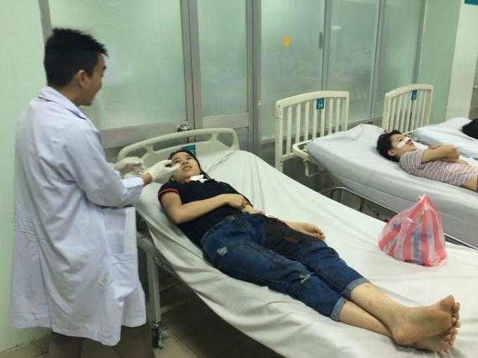 Nạn nhân Nhi tại bệnh viện.