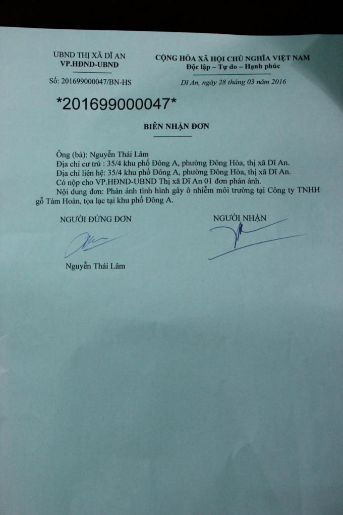 Biên nhận đơn về nội dung phản ánh về tình hình Công ty TNHH gỗ Tám Hoàn gây ô nhiễm môi trường nghiêm trọng.