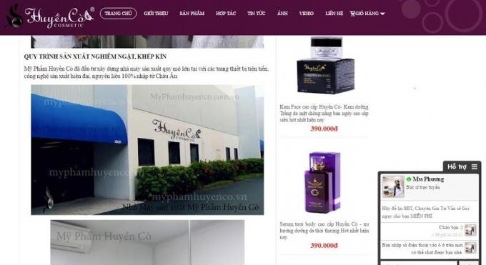 Những dòng quảng cáo về nhà máy, dây chuyền sản xuất mỹ phẩm Huyền Cò.