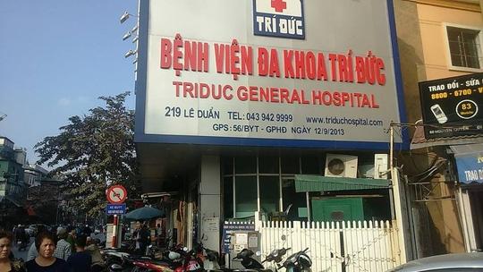 Bệnh viện Đa khoa Trí Đức - nơi xảy ra sự cố 2 bệnh nhân tử vong sau gây mê. (Ảnh báo Người lao động)