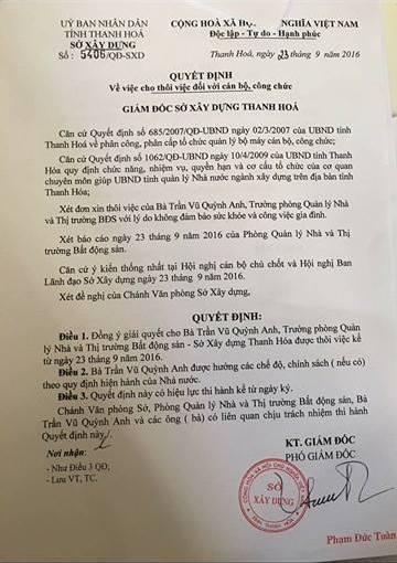 Quyết định cho thôi việc đối với bà Trần Vũ Quỳnh Anh.