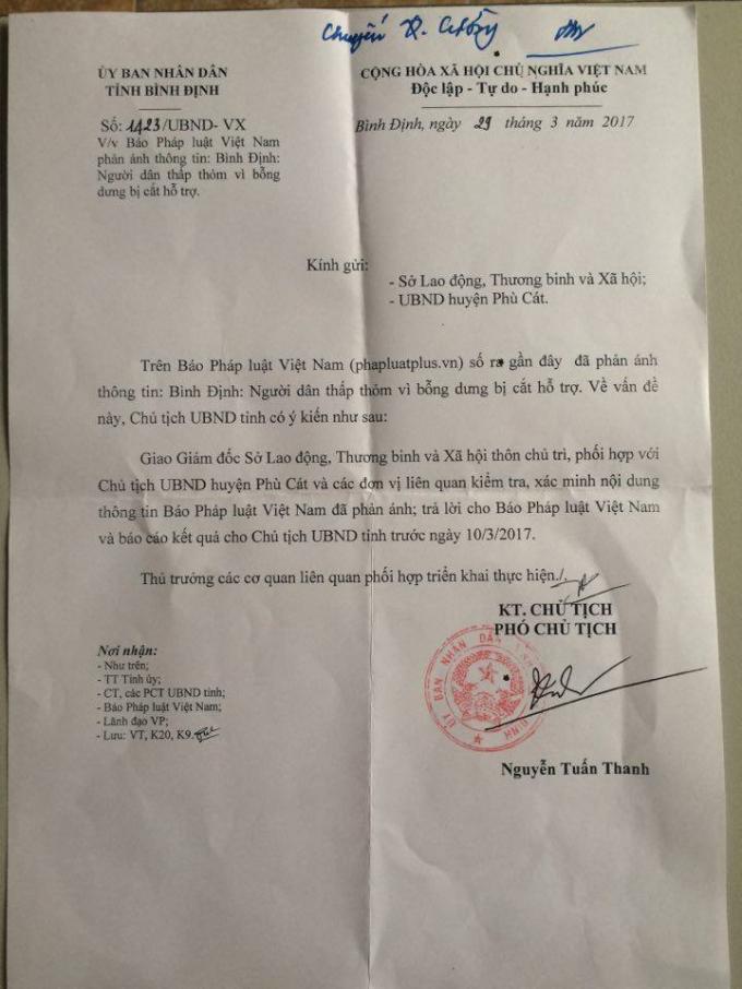 Công văn số 1423/UBND-VX của UBND tỉnh Bình Định gửi báo Pháp luật Việt Nam.