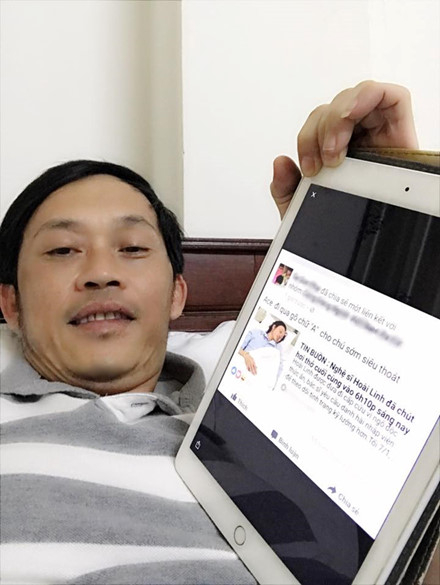 NSƯT Hoài Linh đăng tải tấm ảnh chụp Ipad hiển thị tin đồn ác ý trên mạng xã hội về mình để 'dằn mặt