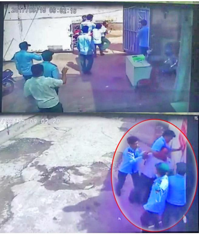 """Nhóm người của ông Hưng kẹt cổ, đẩy, """"cưỡng chế"""" người nhà bà Kim Hường ra khỏi căn nhà 175/9 Nguyễn Cửu Vân, P17, Q. Bình Thạnh được camera an ninh ghi lại vào lúc 9h02"""" ngày 15/9/2017."""