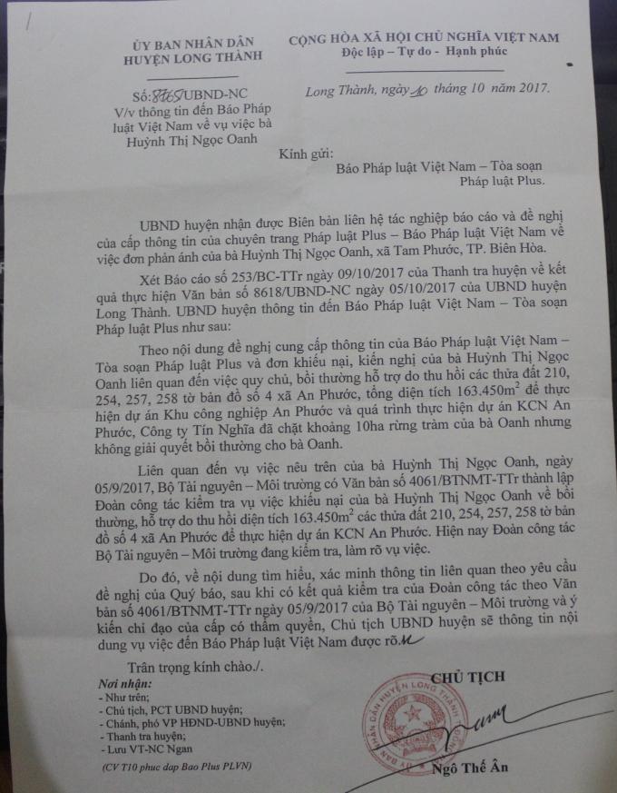 Công văn phản hồi của UBND huyện Long Thành về vụ việc.