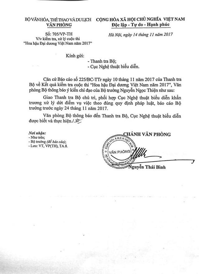 Văn bản do Chánh Văn phòng Bộ VHTT&DL ký truyền đạt ý kiến chỉ đạo của Bộ trưởng Nguyễn Ngọc Thiện.