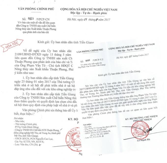 Văn phòng chính phủ có văn bản Hỏa tốc số 7663/VPCP-CN, truyền ý kiến chỉ đạo của Phó Thủ tướng Trịnh Đình Dũng.