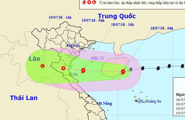 Vị trí và hướng di chuyển của bão số 3. (Ảnh: NCHMF).