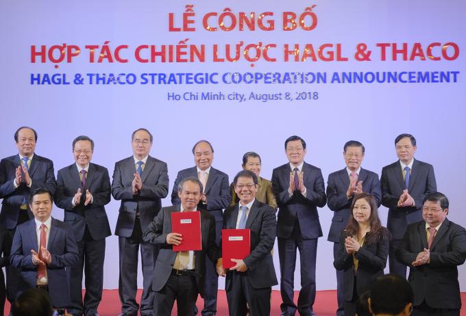 Lễ công bốhợp tác chiến lược của Công ty Cổ phần Hoàng Anh Gia Lai (HAGL) và Công ty Cổ phần Ô tô Trường Hải (Thaco). Ảnh: VGP/Quang Hiếu