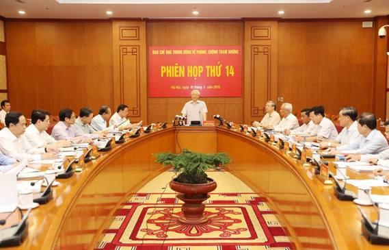 Tổng Bí thư chủ trì phiên họp thứ 14 của Ban chỉ đạo Trung ương về phòng chống tham nhũng.