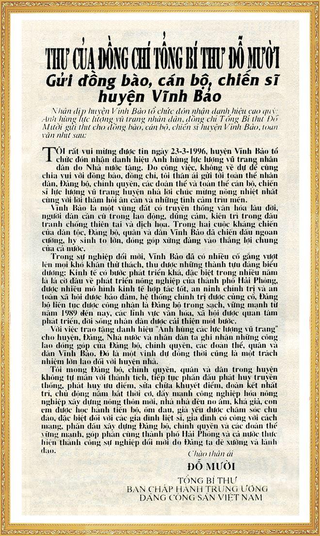 Thư của Tổng Bí thư gửi đồng bào, cán sĩ huyện Vĩnh Bảo.