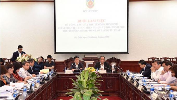 Tổ công tác của Thủ tướng Chính phủ kiểm tra việc thực hiện nhiệm vụ do Chính phủ, Thủ tướng giao tại Bộ Tư pháp.