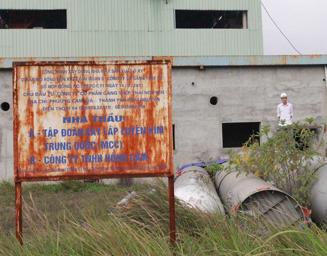 Biển hiệu công trình xây dựng nhà máy sản xuất ô xy, một trong các hạng mục của đại dự án thua lỗ nghìn tỷ Gang thép Thái Nguyên.