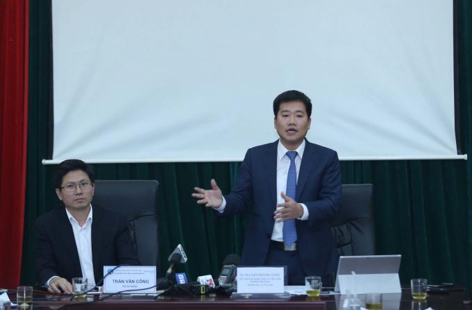 Ông Nguyễn Hoàng Linh- Phó Tổng cục trưởng Tổng cục Tiêu chuẩn Đo lường chất lượng phát biểu tại cuộc gặp gỡ báo chí để thông tin về tiêu chuẩn nước mắm chiều 8/3.