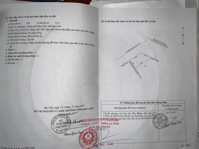 Giấy chứng nhận quyền sử dụng đất của ông Thuận chuyển nhượng lại cho ông Khoa.
