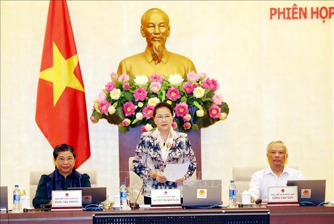 Chủ tịch Quốc hội Nguyễn Thị Kim Ngân chủ trì và phát biểu khai mạc Phiên họp thứ 34 của Ủy ban Thường vụ Quốc hội. Ảnh: Trọng Đức/TTXVN
