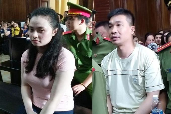 Ông trùm Văn Kính Dương và người tình Hotgirl Ngọc Miu tại phiên tòa.
