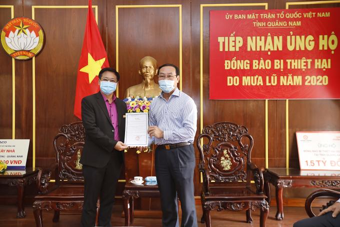 Ông Võ Xuân Ca - Chủ tịch UB MTTQ Việt Nam tỉnh Quảng Nam gửi thư cảm ơn  đến Tập đoàn Hưng Thịnh.