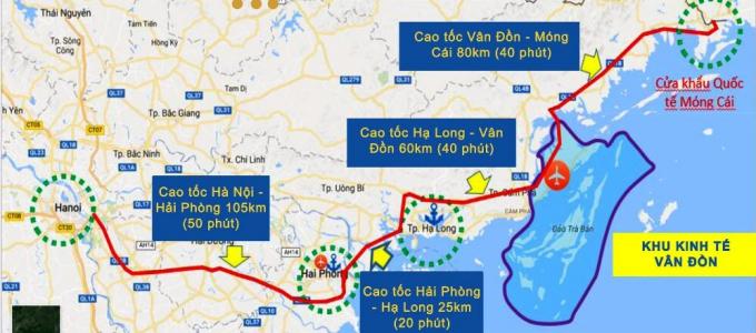 Chuỗi cao tốc Hà Nội - Móng Cái. Đồ họa: BQN
