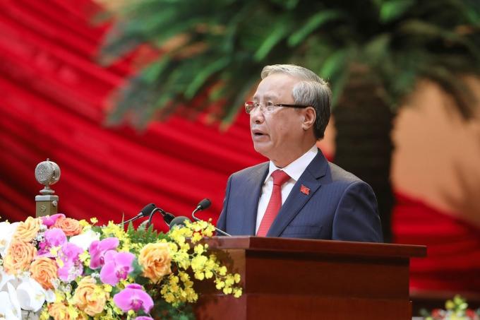 Ủy viên Bộ Chính trị, Thường trực Ban Bí thư Trần Quốc Vượng thay mặt Đoàn Chủ tịch tuyên bố lý do, giới thiệu đại biểu và khách mời của Đại hội. (Ảnh: TTXVN)