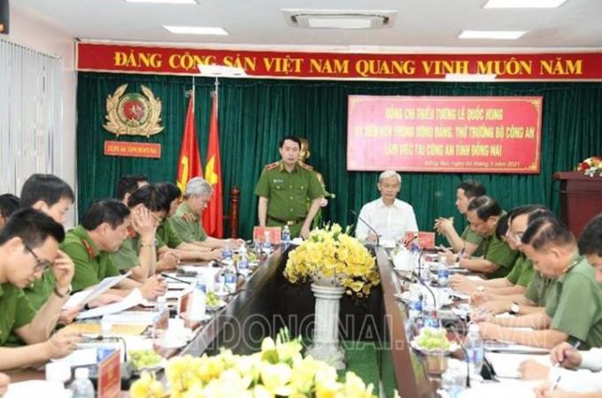 Thiếu tướng Lê Quốc Hùng, Thứ trưởng BCA ghi nhận và đánh giá cao về kết quả đạt được của Công an tỉnh Đồng Nai.