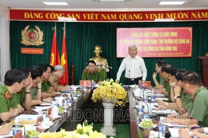 Đồng chí Nguyễn Phú Cường - Bí thư Tỉnh uỷ phát biểu trong buổi làm việc.