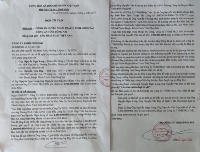 Đơn tố cáo Nguyễn Ngọc Long của Công ty PROLINK gửi cơ quan chức năn