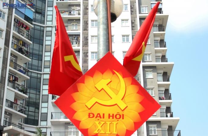 Những điểm nhấn trang trí chào mừng Đại hội Đảng.(Ảnh: Đức Biên)