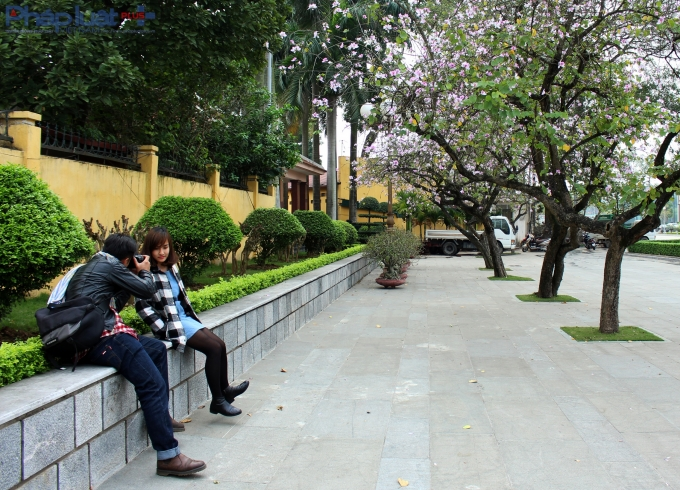 Giới trẻ tận dụng cơ hội này để lưu trữ những khoảnh khắc đẹp nhất trong năm của đất Hà Thành.(Ảnh: Đức Biên)