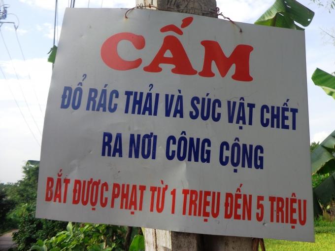 Người dân tại một số xóm của xã Ngọc Lũđã tựđóng những tấm biển như thếđể rănđe những ngời vứt trộm lợn chết ra môi trường.