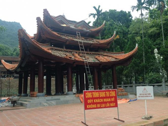 Công trình tu bổ gác chuông trongkhu vực Thiên Trù thuộc di tích thắng cảnh Hương Sơn. Ảnh: Internet