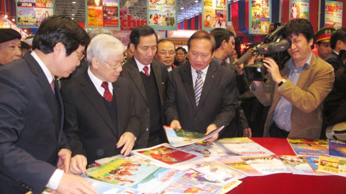 Tổng Bí thư Nguyễn Phú Trọng thăm Hội báo Xuân Toàn quốc 2015. Ảnh: Internet