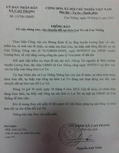 UBND xã Cao Thắng chỉ ra thông báo