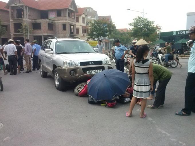 Hiện trường nơi xảy ra vụ tai nạn tai ngã tư thuộc đường đôi Tây Nam Linh Đàm.