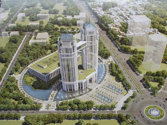 Phối cảnh trung tâm hành chính tập trung 2178 tỷ đồng của tỉnh Nghệ An
