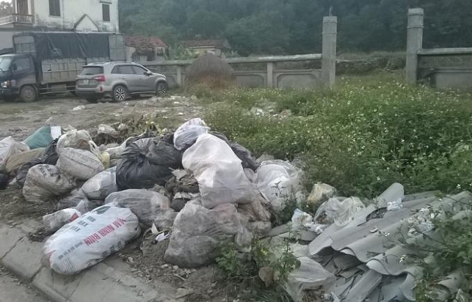 Bãi tập kết rác ngay mặt tiền Di chỉ khảo cổ học (ảnh Duy Ngợi).